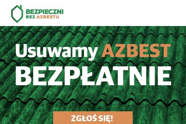 """baner informacyjny """"bezpieczni od azbestu"""""""