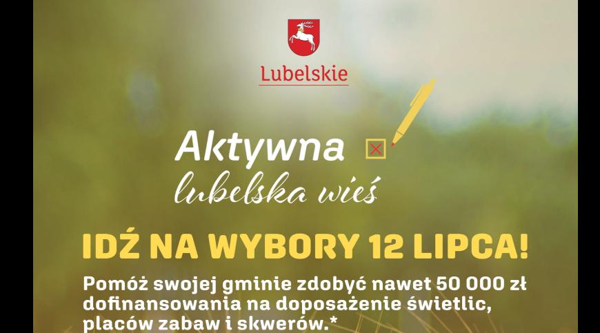 """Plakat z opisem konkursu """"Aktywna lubelska wieś"""""""