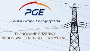 logo PGE, z napisem planowane przerwy w dostawie energii elektrycznej