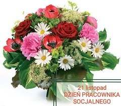 bukiet kwiatów z datą dnia pracownika socjalnego